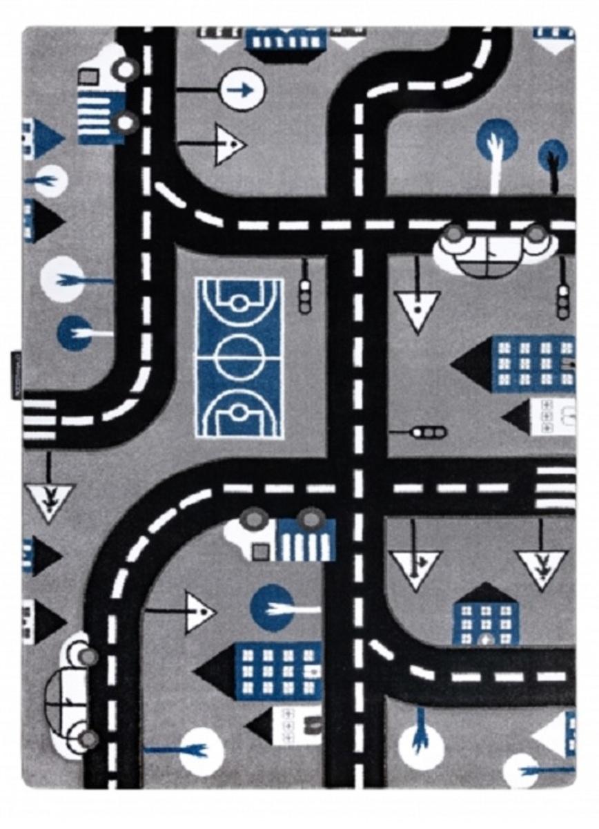 Detský koberec PETIT - Cesty a cesty - šedý Road and route rug - grey 80 x 150 cm
