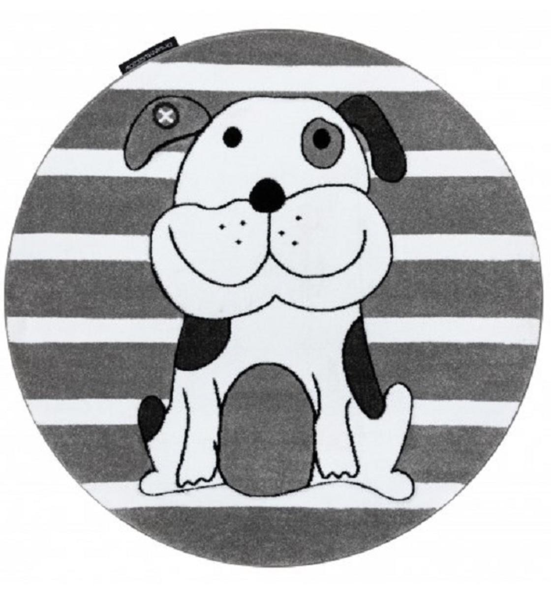 Okrúhly koberec PETIT - Šteniatko - sivý Round rug puppy - grey priemer 120 cm