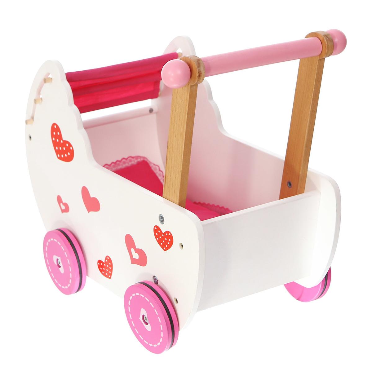 Drevený tlačiaca kočík pre bábiky babydoll stroller
