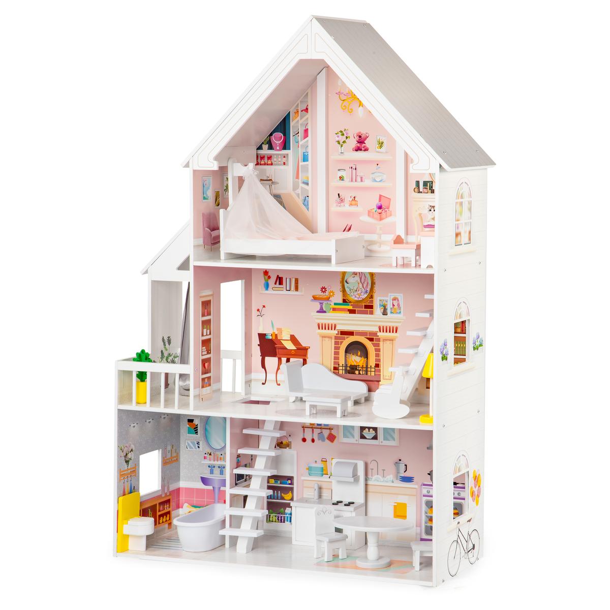 Drevený domček pre bábiky Pastelová rezidencie wooden babydoll