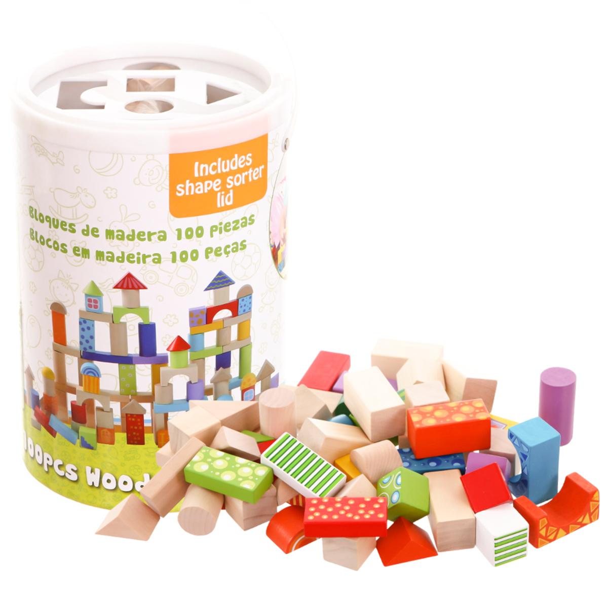 Farebné drevené kocky 100 ks Building Blocks Set