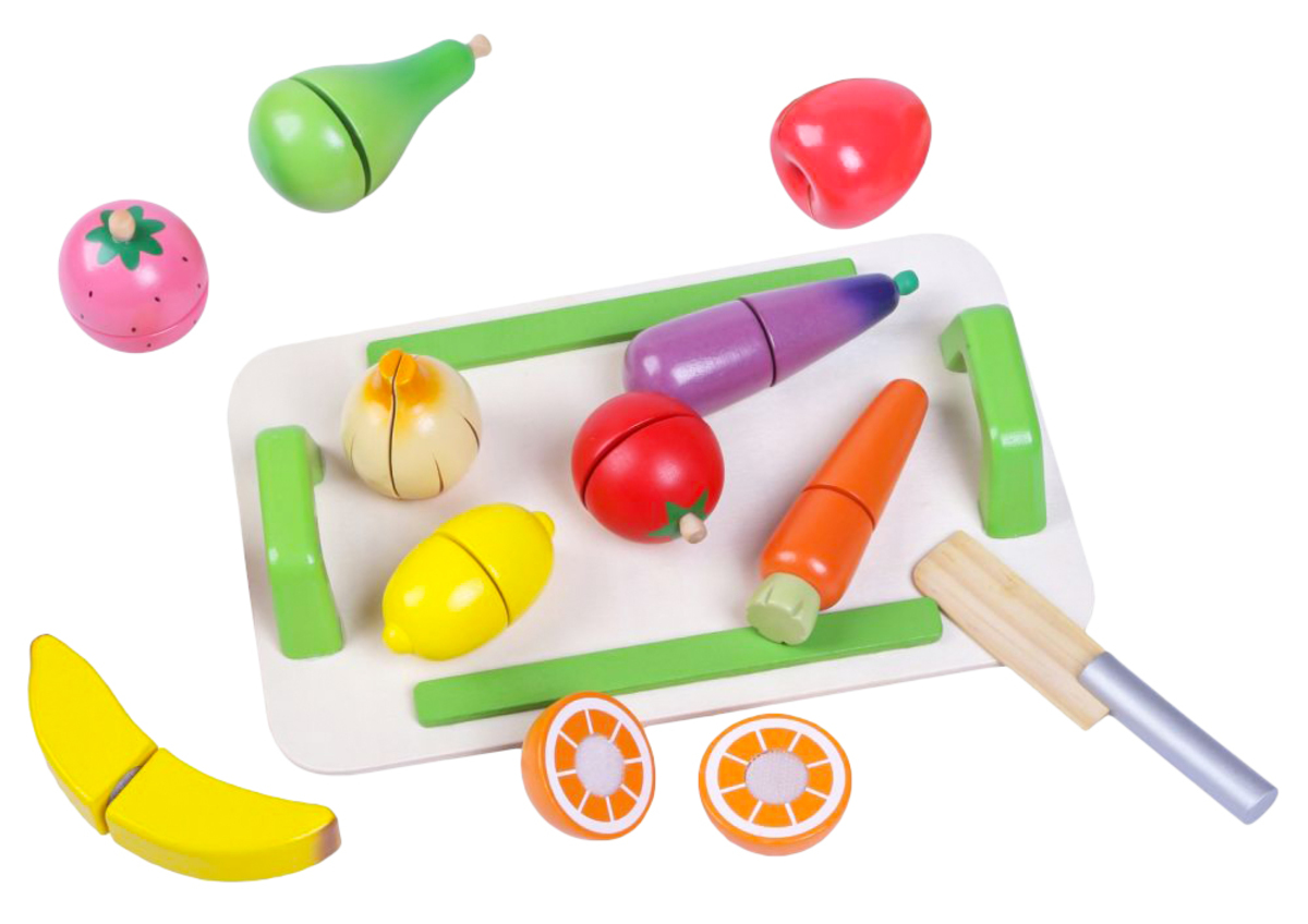 Ovocie a zelenina s krájacím doskou fruit and vegetable set
