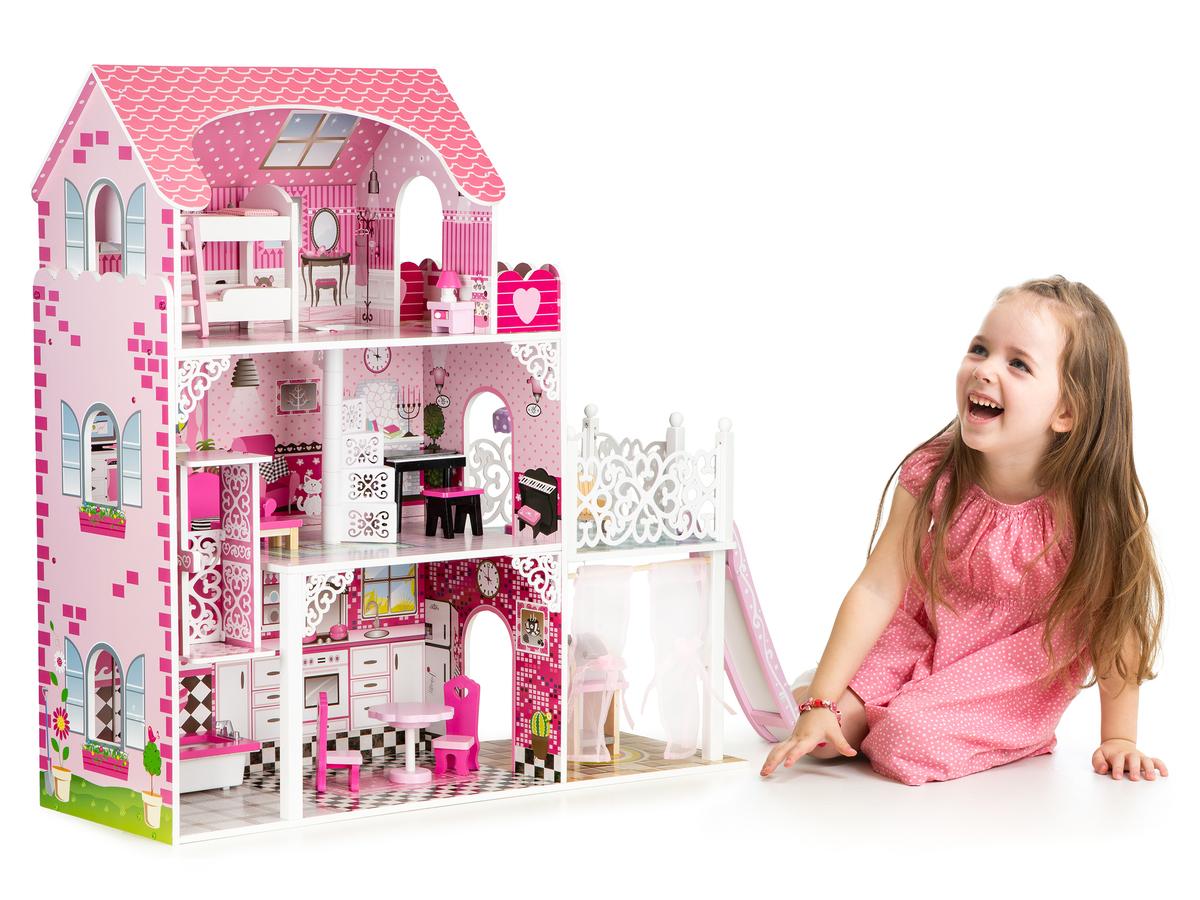 Drevený domček pre bábiky s výťahom Viktorie dollhouse