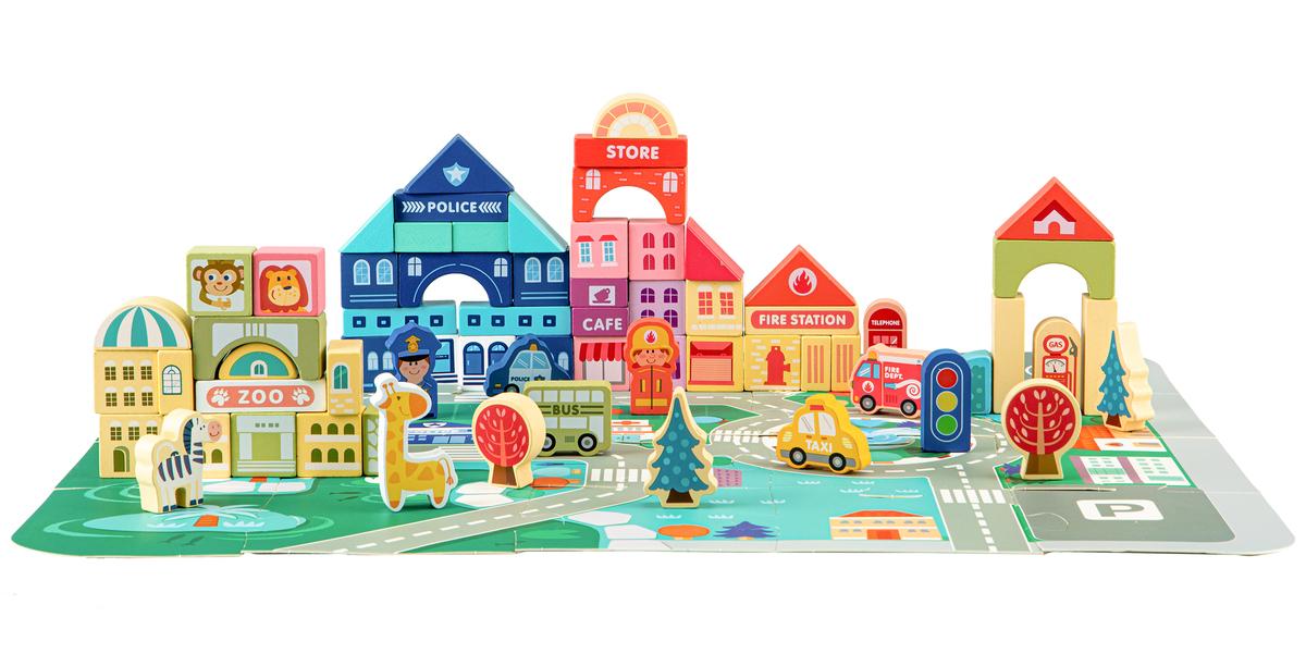Drevené mestečko s podložkou 120 kusov wooden blocks pieces