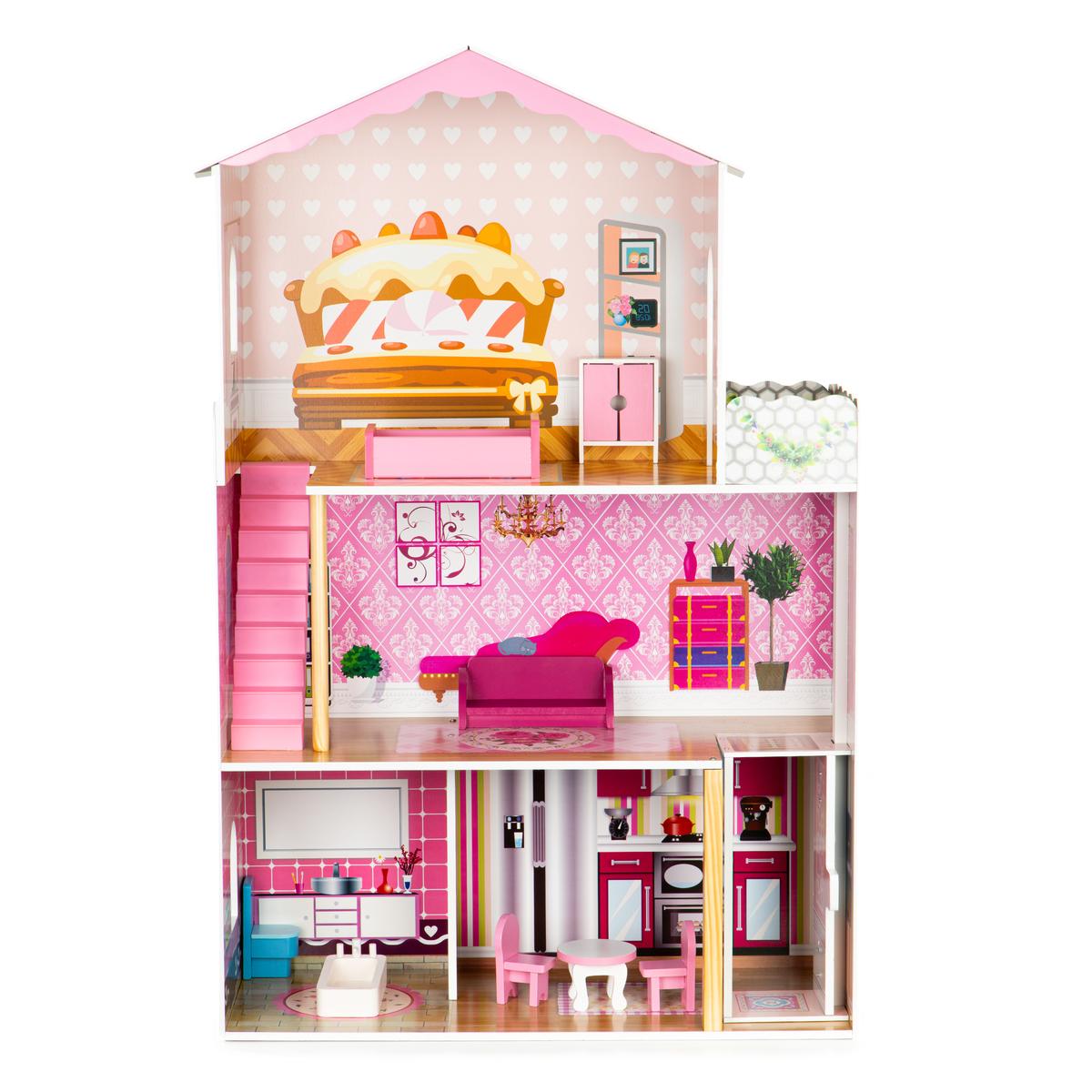 Drevený domček pre bábiky s výťahom Amanda dollhouse