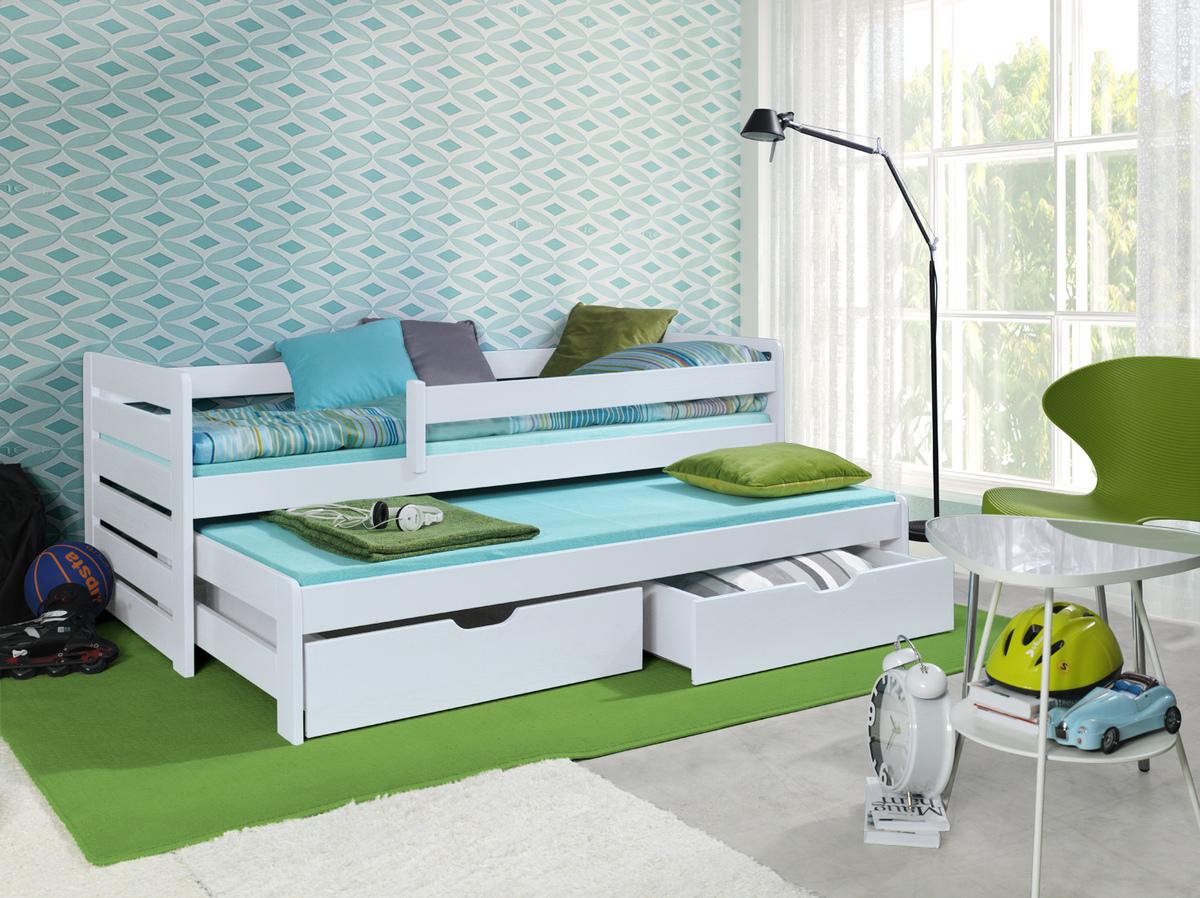Detská posteľ s prístelkou a zábranou Praktik White 180x80 cm biela