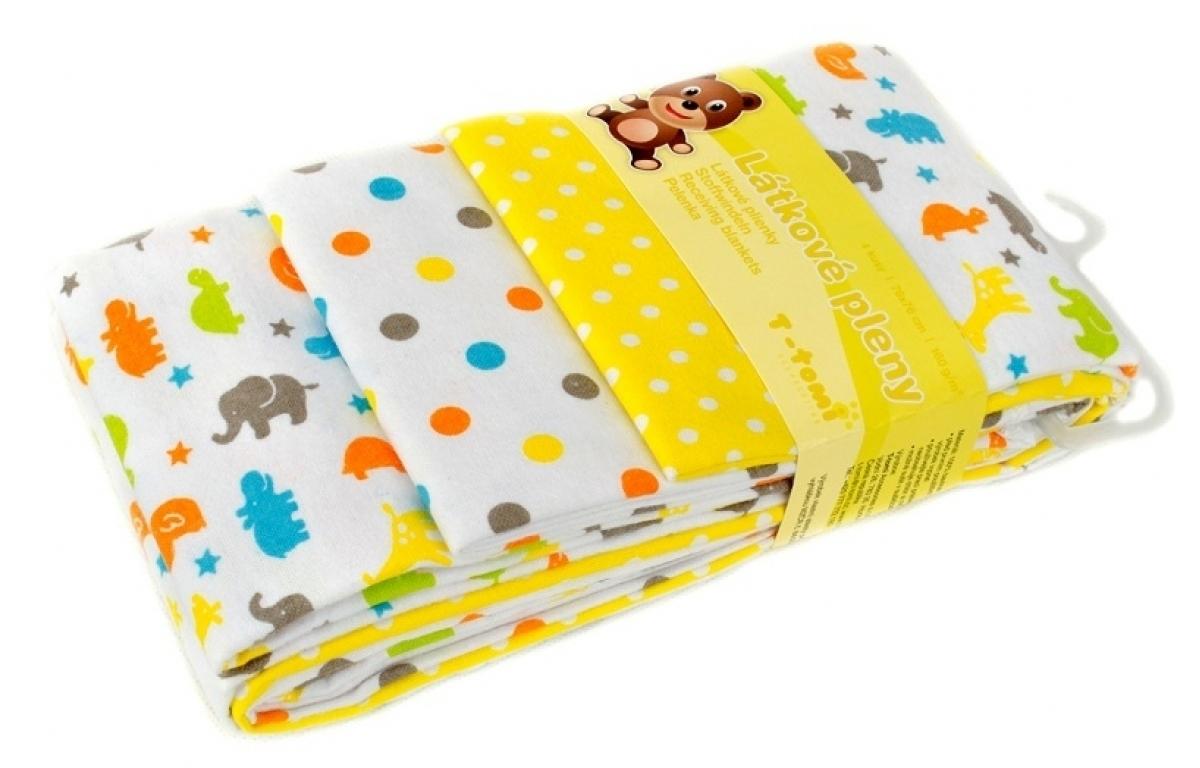Detské látkové plienky s potlačou žltá žirafa