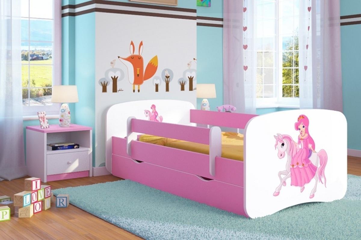 OURBABY detská posteľ so zábranou ružová - princezná na koni Princess 140x70 cm posteľ bez úložného priestoru