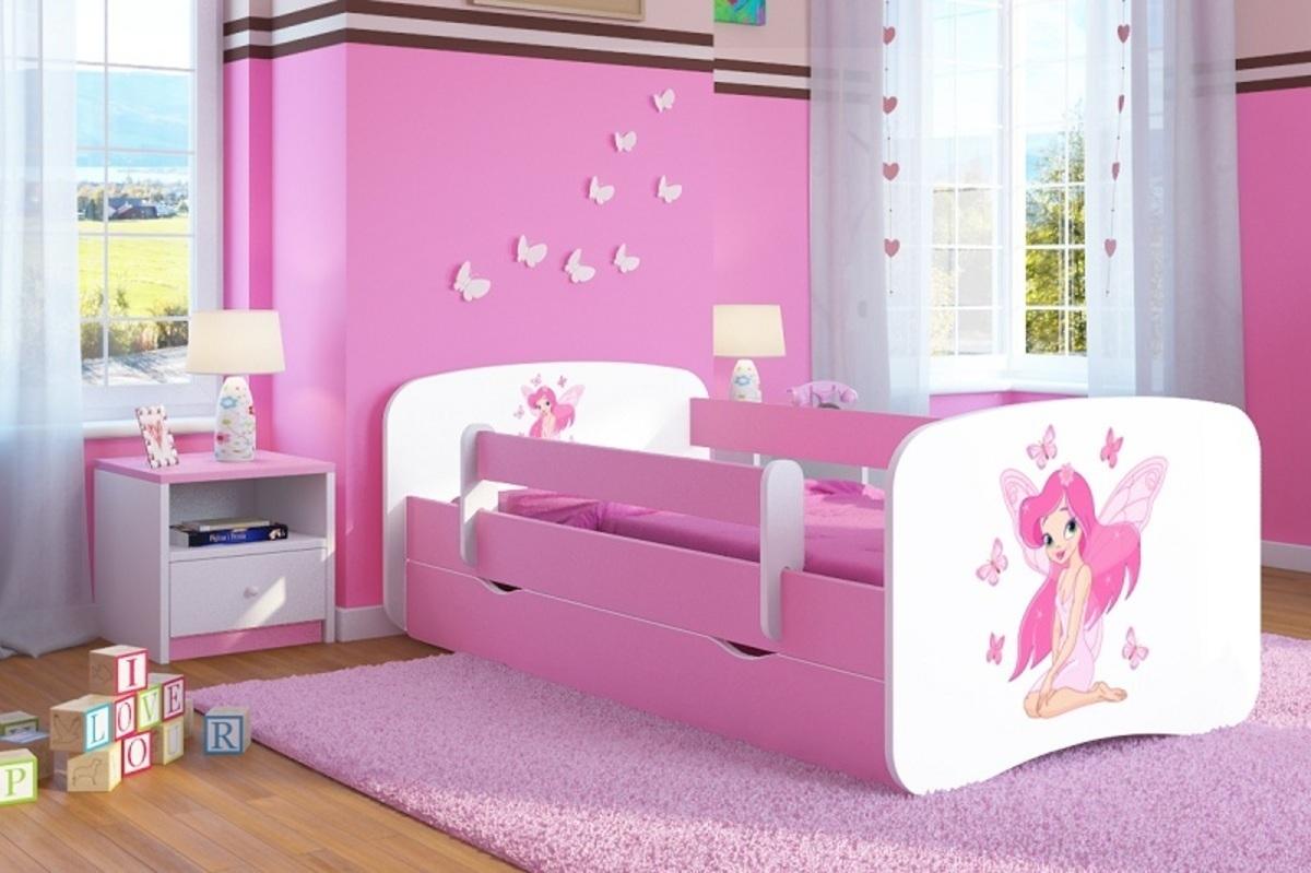 OURBABY detská posteľ so zábranou - víla Leonka - ružová Leny 140x70 cm posteľ bez úložného priestoru
