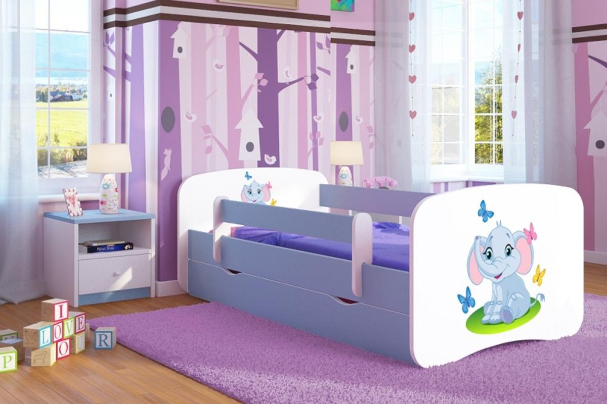 OURBABY detská posteľ so zábranou - sloník - modrá LOKI Elephant 140x70 cm posteľ bez úložného priestoru