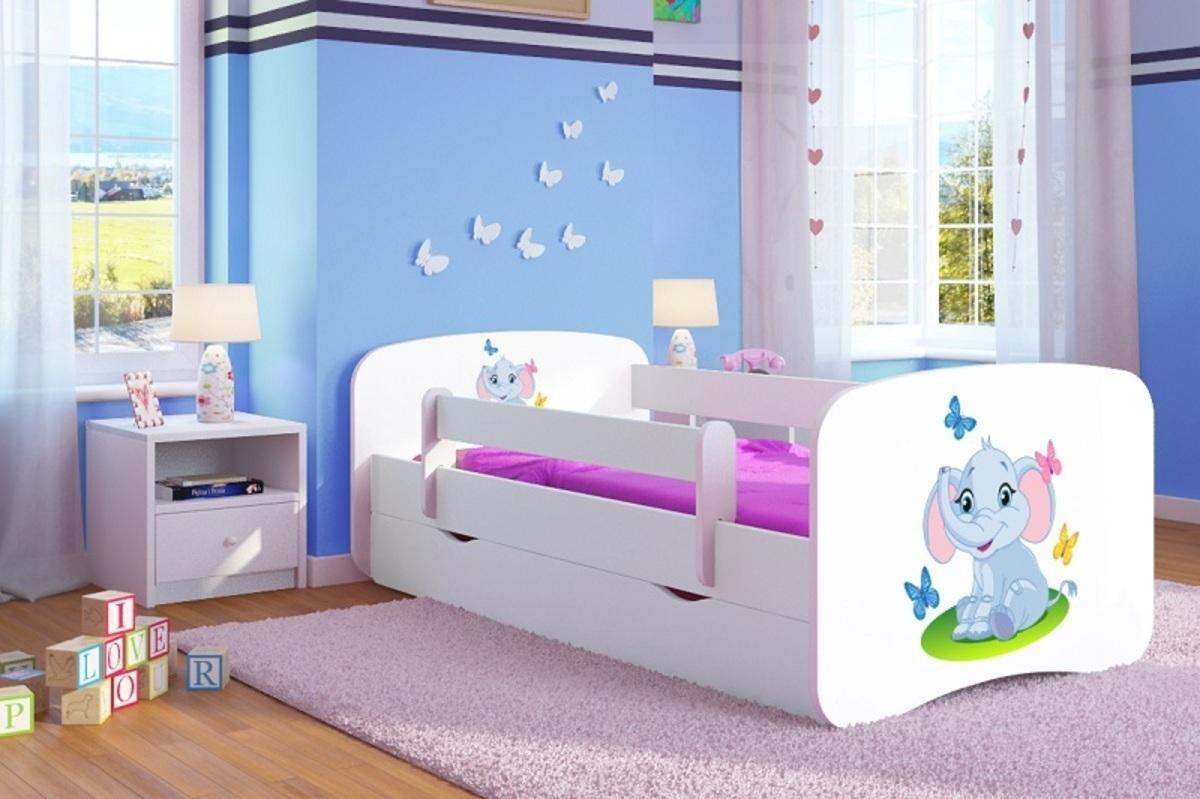 Detská posteľ Ourbaby LOKI Elephant biela 140x70 cm