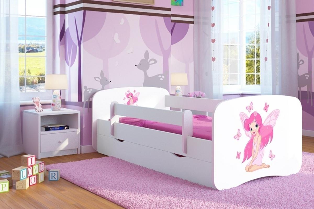 OURBABY detská posteľ so zábranou - víla Leonka - biela Leny 140x70 cm posteľ bez úložného priestoru