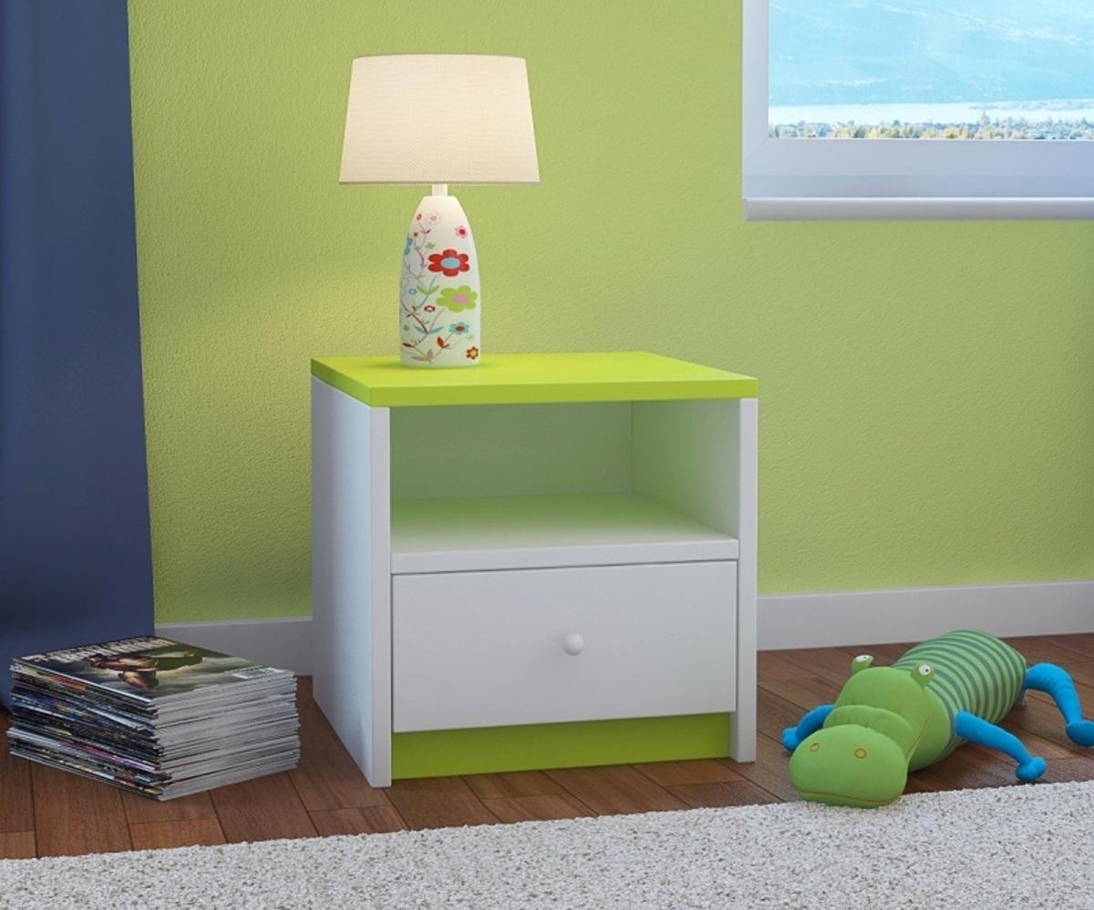 OURBABY detský nočný stolík - zeleno-biely