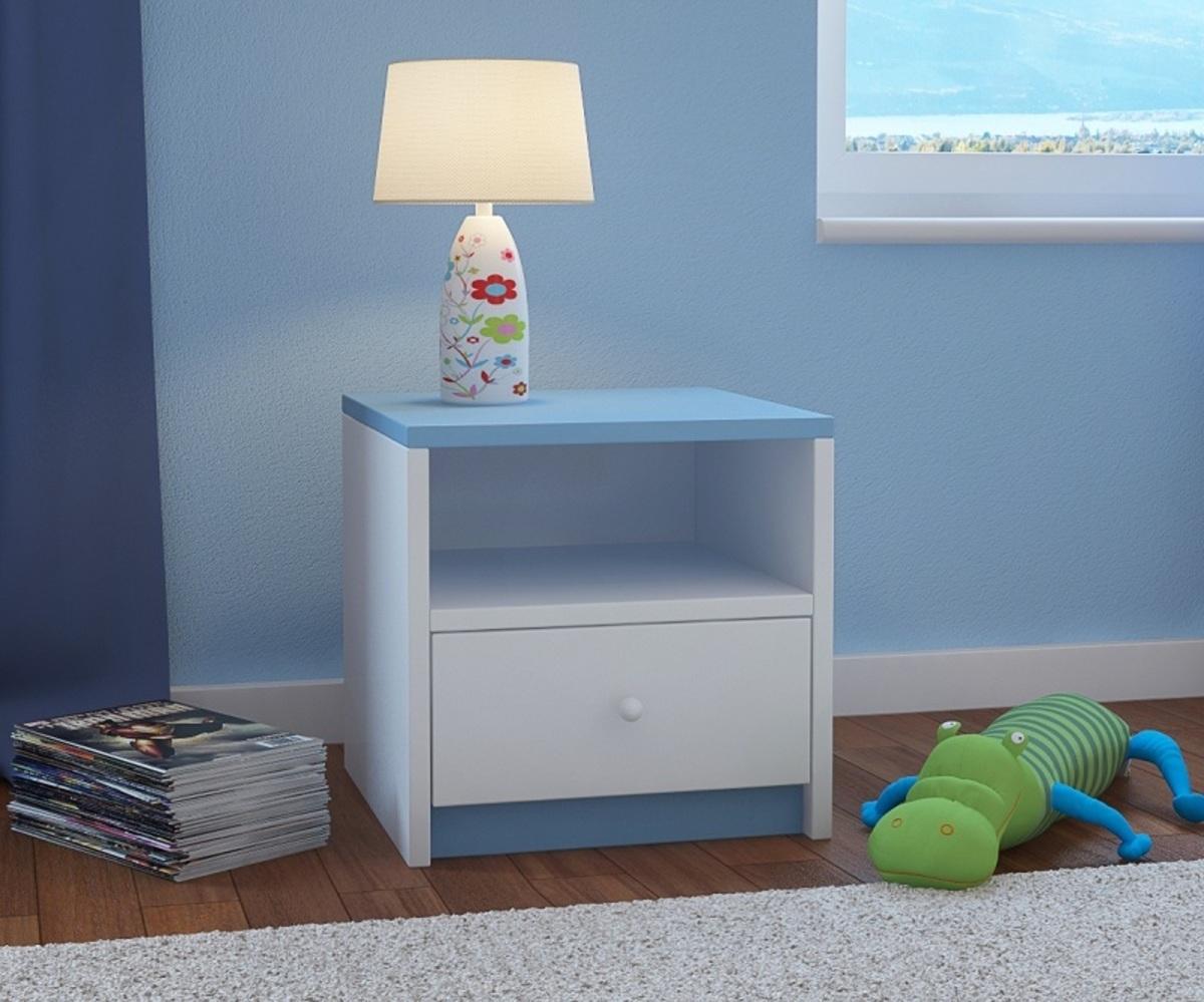 Ourbaby detský nočný stolík - modro-biely
