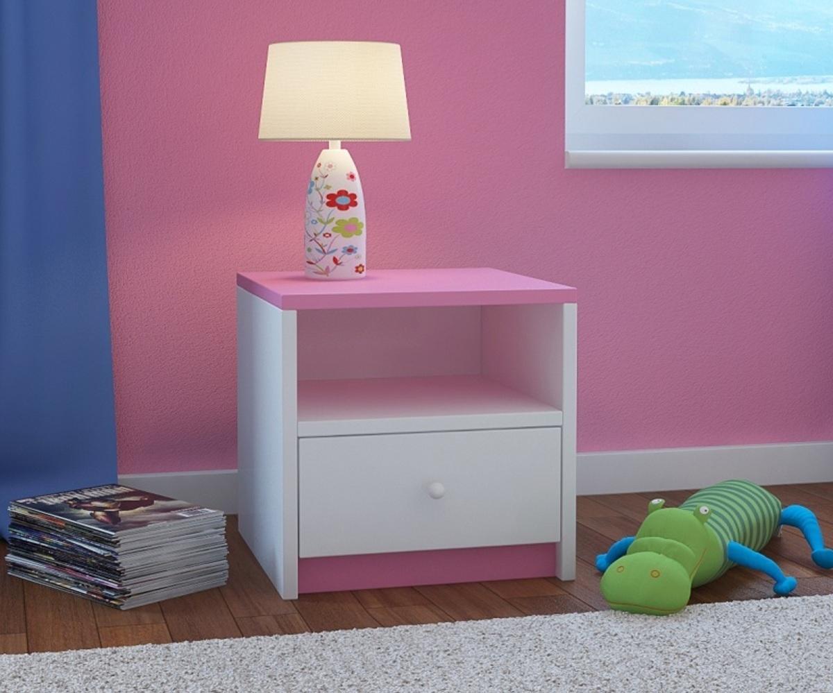 OURBABY detský nočný stolík - ružovo-biely