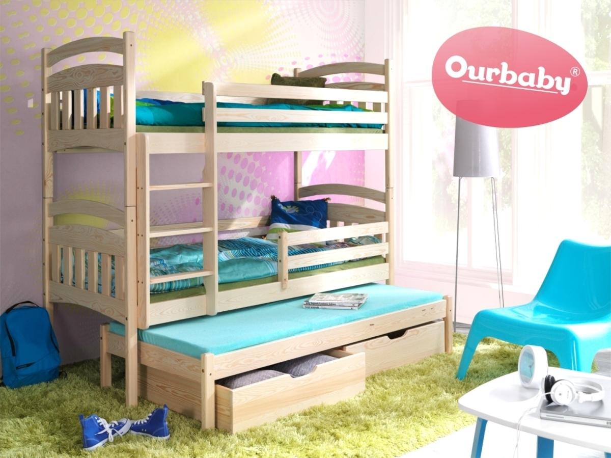 OURBABY poschodová posteľ s prístelkou MARCO III 200x90 cm borovica