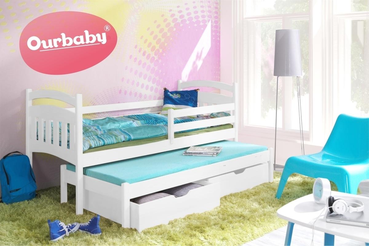 OURBABY detská posteľ s prístelkou Marco I - Biela 180x80 cm s prístelkou biela