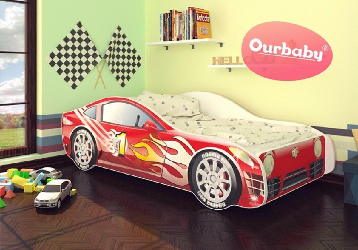 OURBABY detská posteľ Autíčko + matrac zadarmo Car Mino 140x70 cm červená