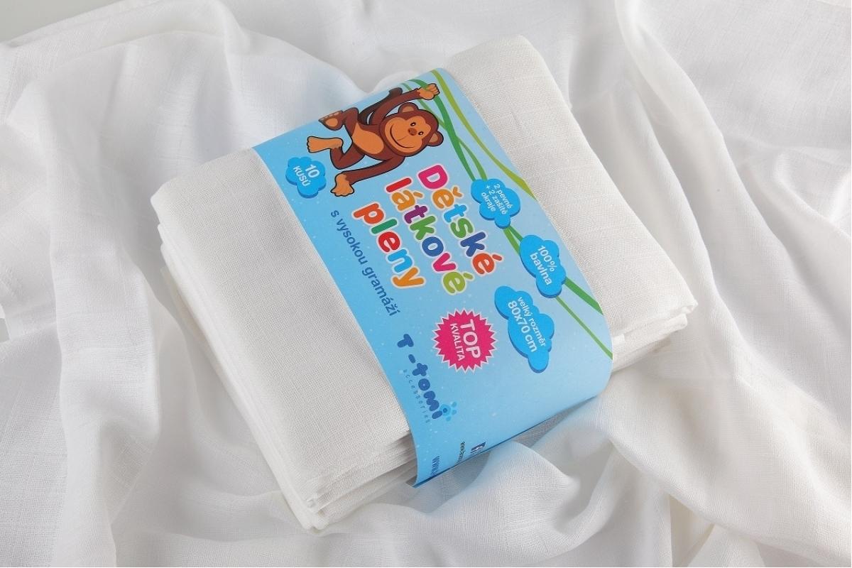 Detské látkové TETRA plienky - TOP biela 5 ks
