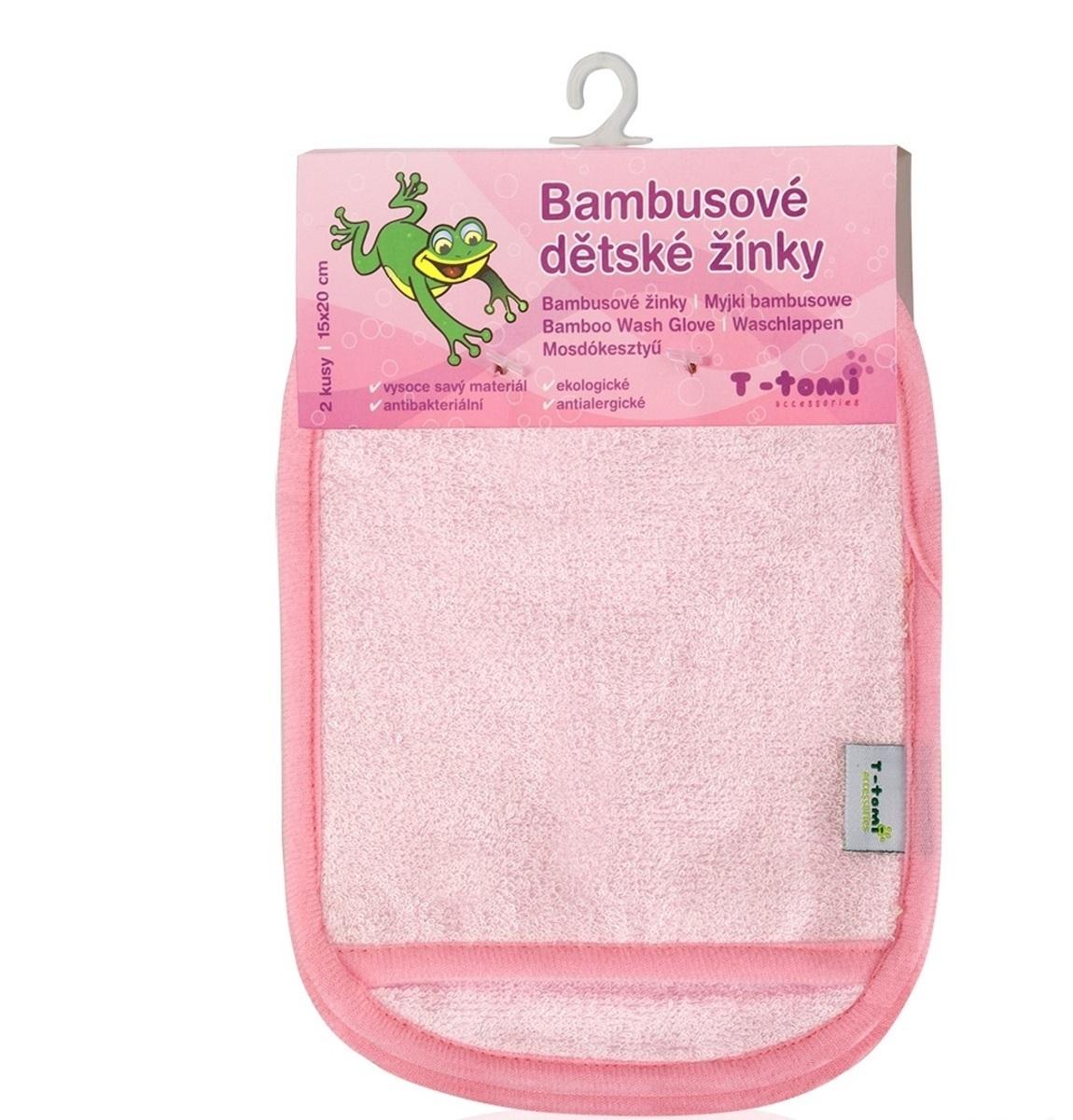 Detská bambusová kúpacia špongia - rukavice ružová