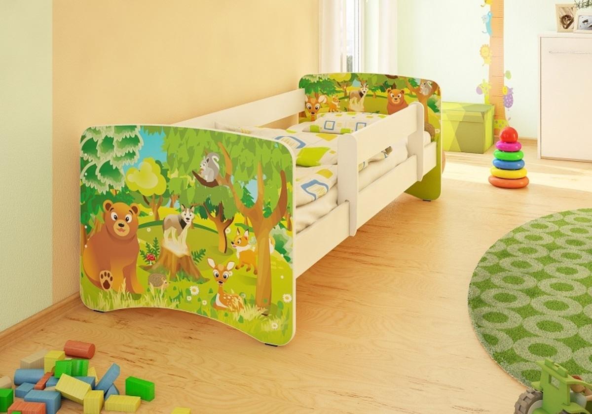 Detská posteľ so zábranou - les Forest 160x70 cm posteľ bez úložného priestoru