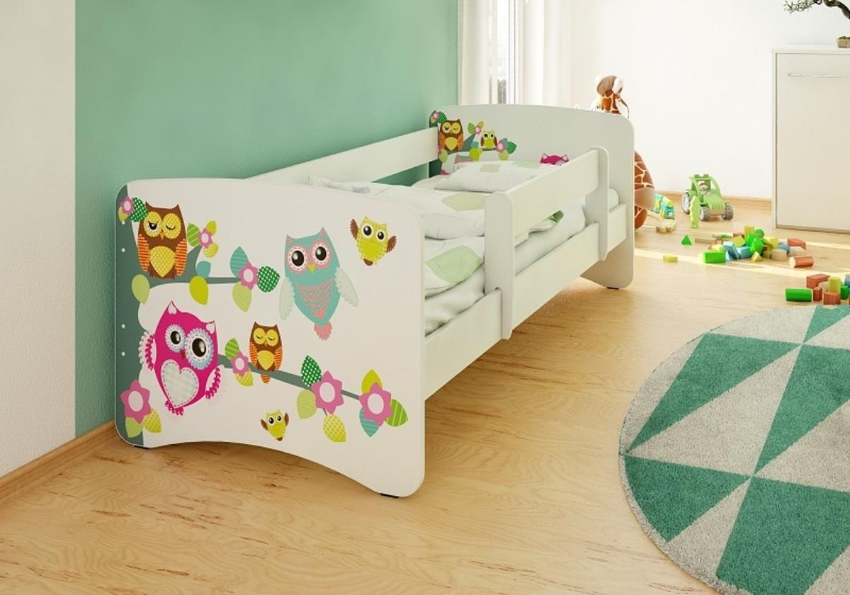Detská posteľ so zábranou - sovičky Owls 160x70 cm posteľ bez úložného priestoru