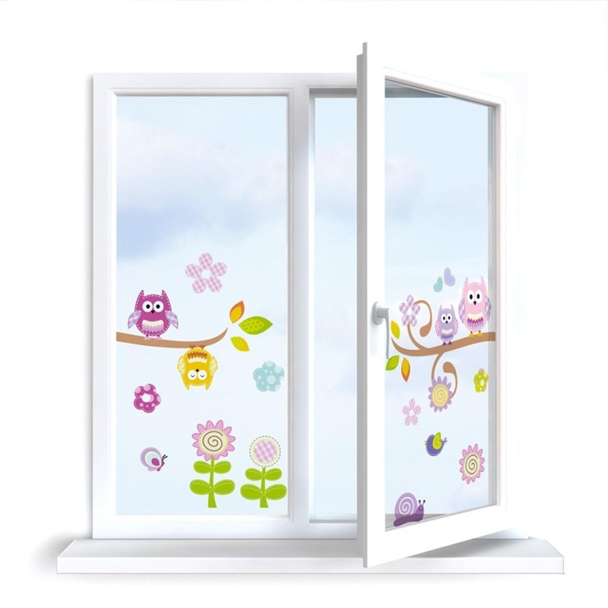 Nálepky na okno - sovičky - 0,3 m2
