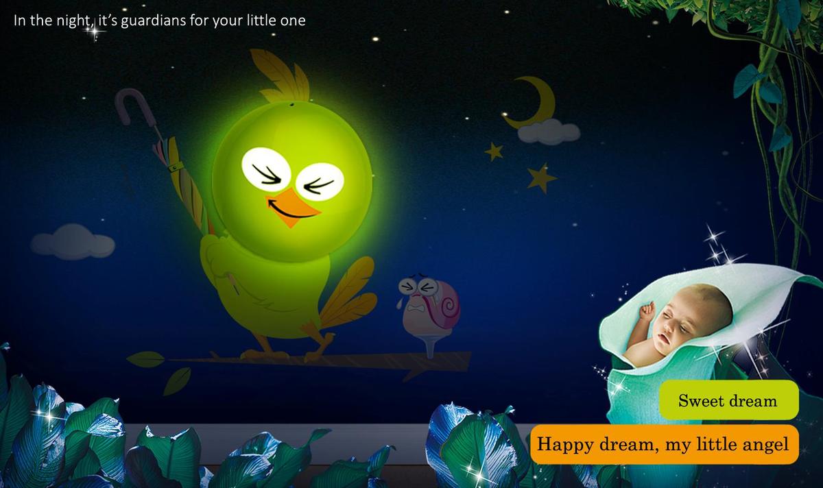 Detská nočná lampa s nálepkou - vtáčik JP-HY027