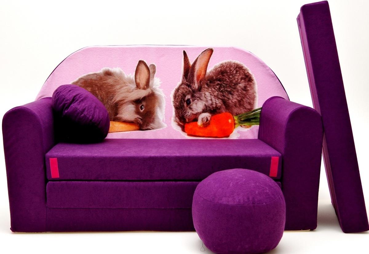 Detská pohovka - zajačiky - fialová G1