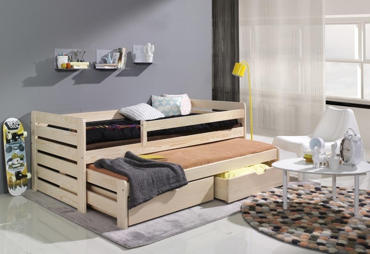 Detská posteľ s prístelkou a zábranou Praktik - prírodná 180x80 cm borovica