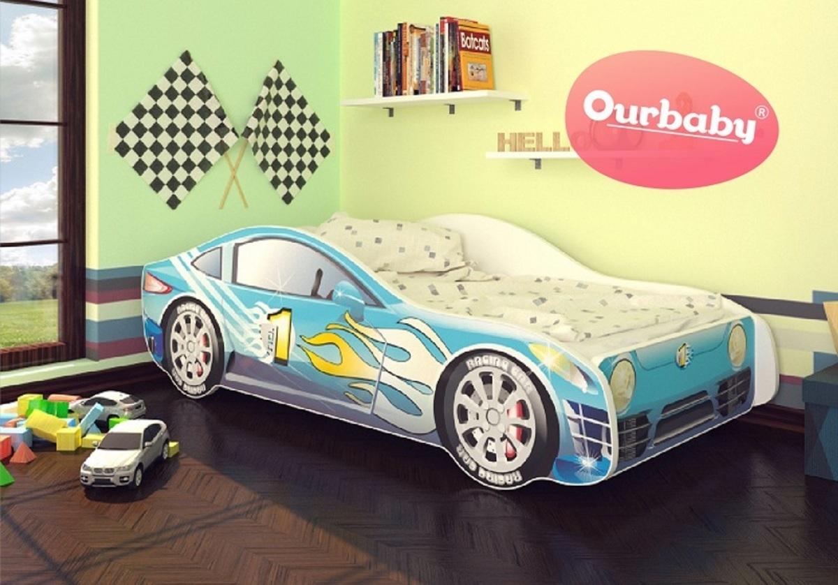 OURBABY detská posteľ - modré autíčko + matrac zadarmo Car Blue modrá