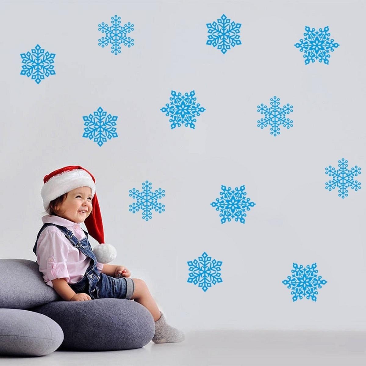 Vianočná dekorácia na stenu - modré vločky