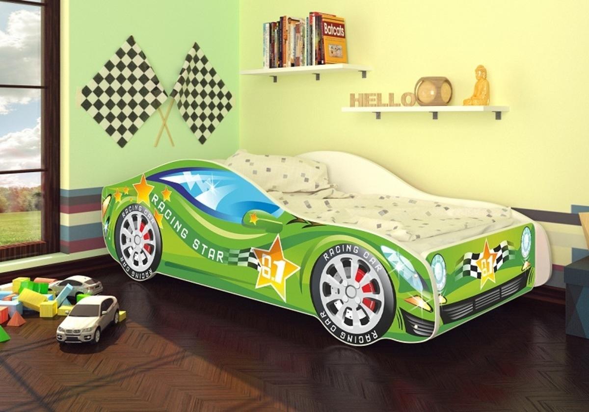 OURBABY detská posteľ Autíčko zelené + matrac zadarmo Car Green zelená