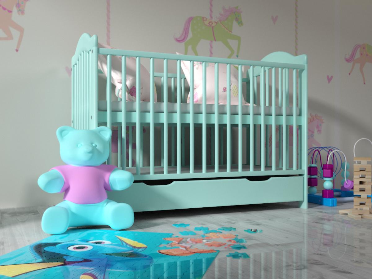Detská postieľka ALEK - mätová postieľka + úložný priestor