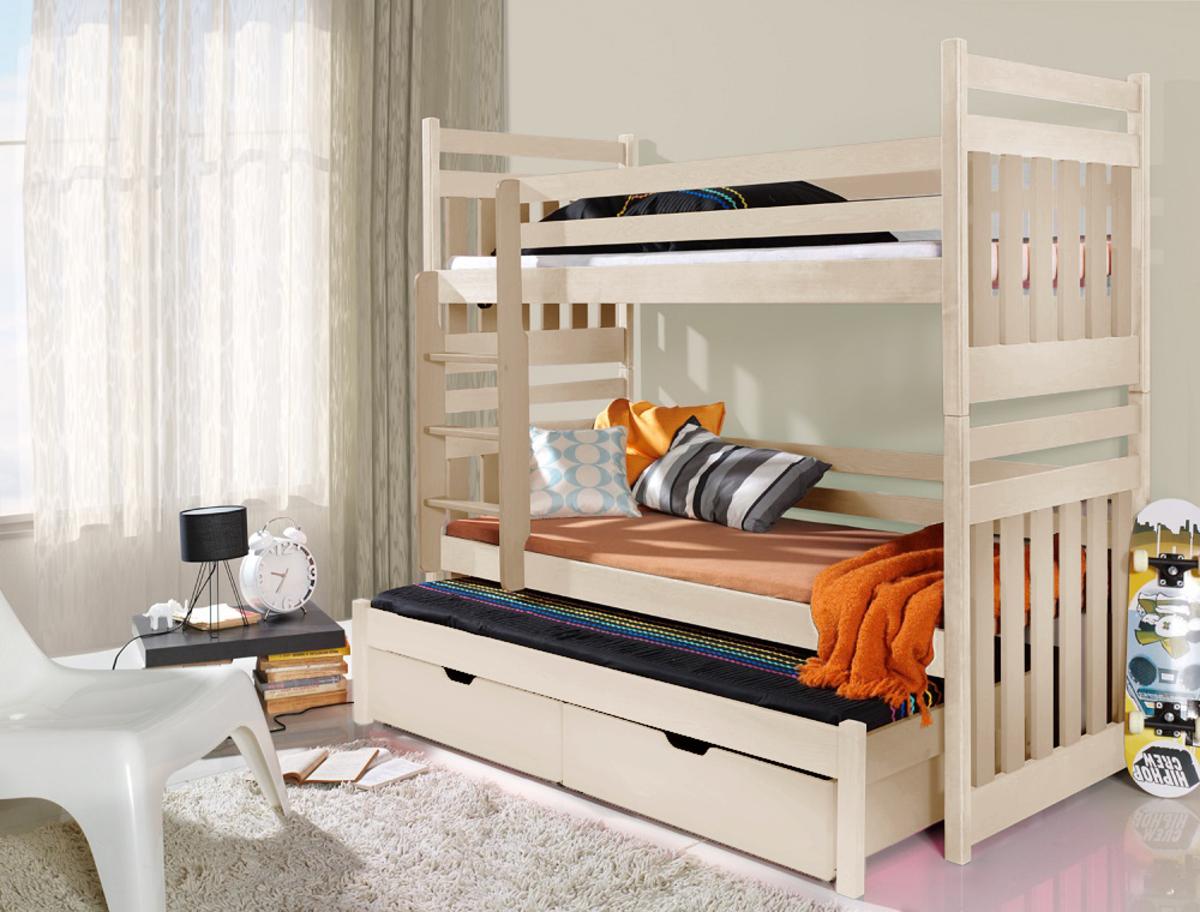 Poschodová posteľ s prístelkou Alex - prírodná 200x90 cm