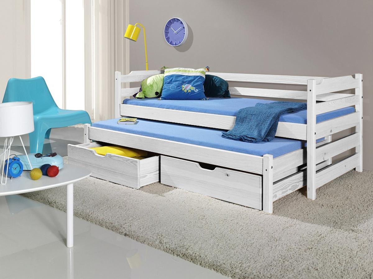 Detská posteľ s prístelkou Sam - biela 180x80 cm