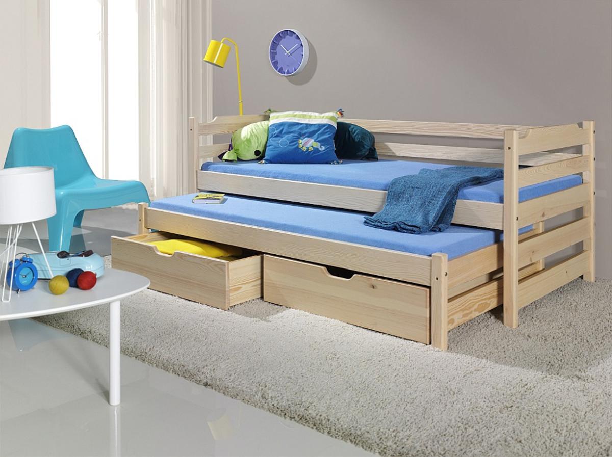 Detská posteľ s prístelkou Sam - prírodná 180x80 cm