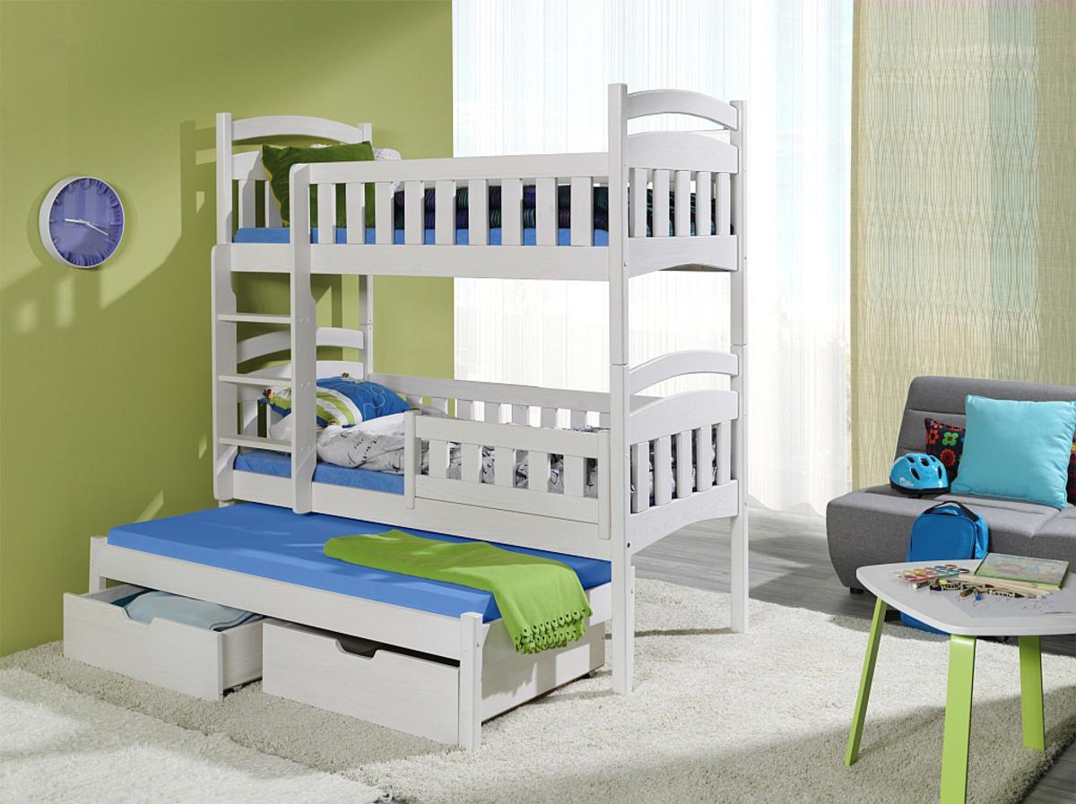 Poschodová posteľ s prístelkou Ella - biela 180x80 cm