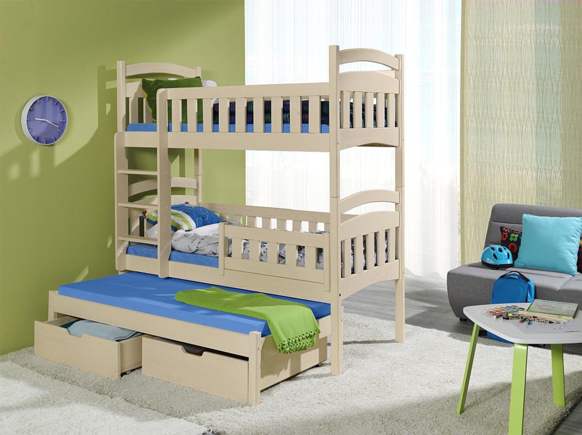 Poschodová posteľ s prístelkou ELLA - prírodná 180x80 cm