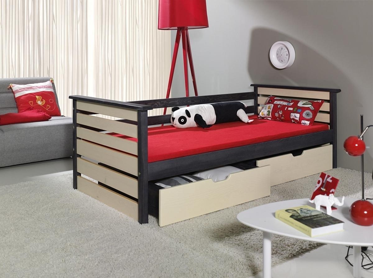Detská posteľ Single grafit / vanilka 160x90 cm