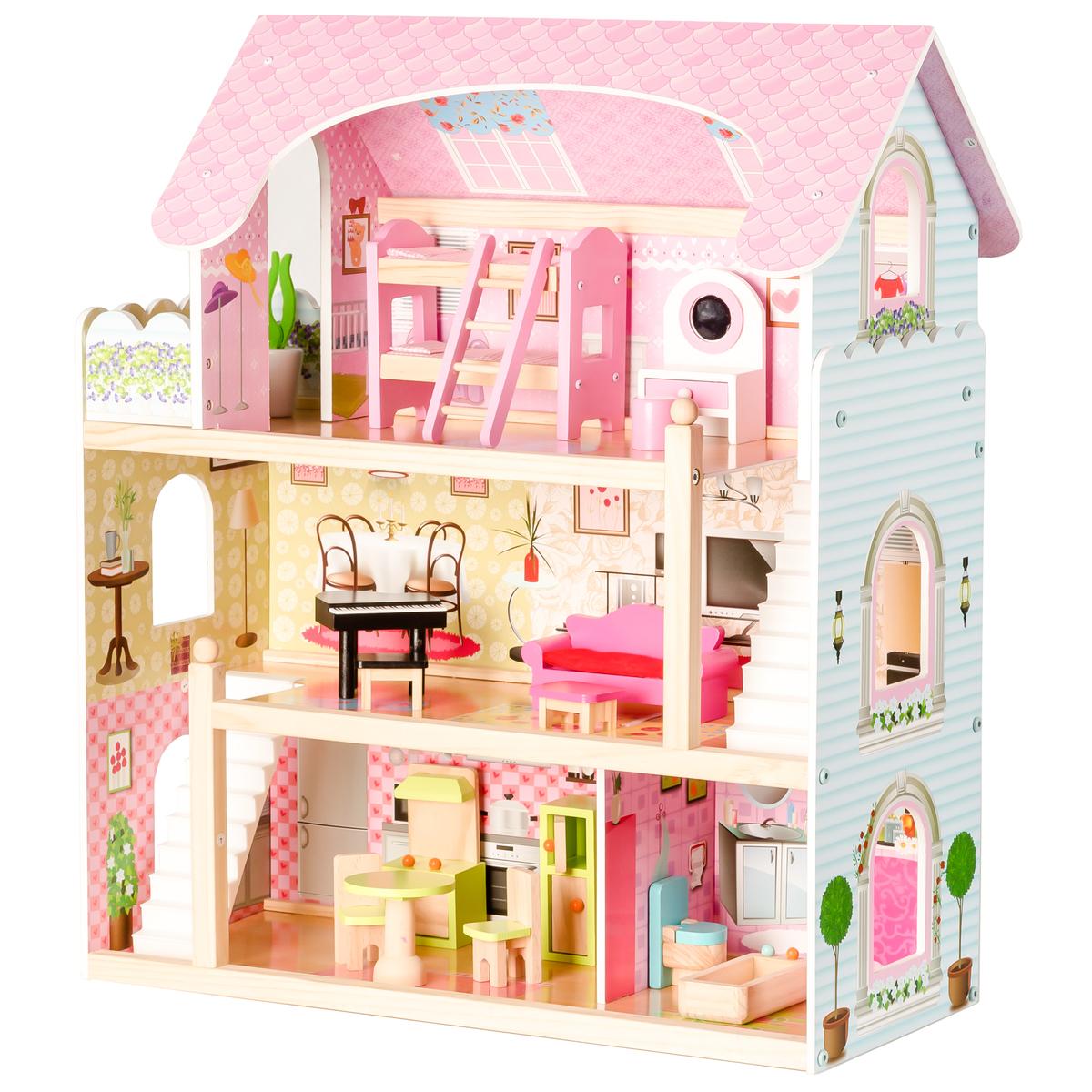 Drevený domček pre bábiky Rozprávková rezidencia rezidencie Fairytale