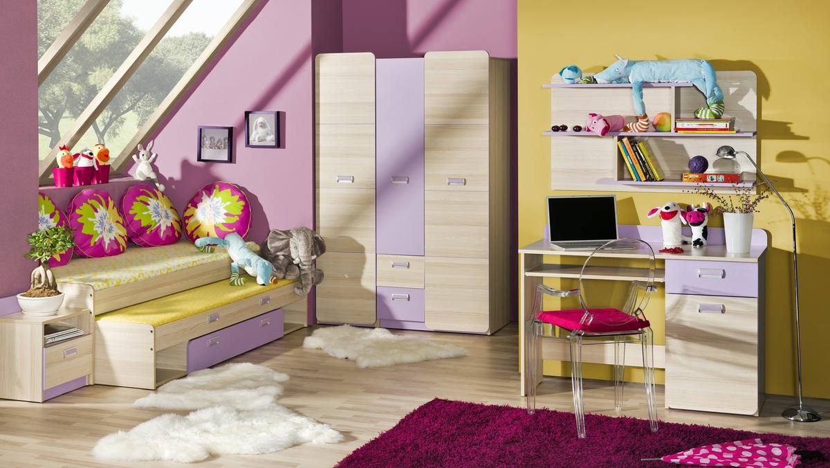 Detská izba LORI 7 posteľ s prístelkou L16