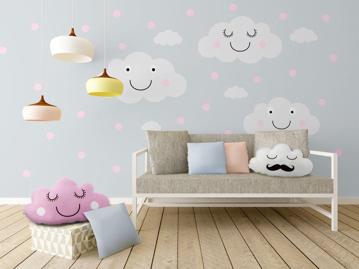Dekorácia na stenu - veselé mráčiky + ružové bodky