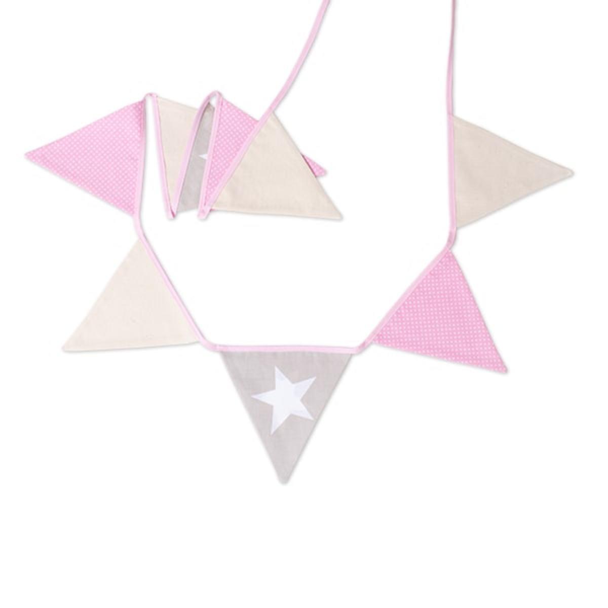 Látková girlanda - ružová hviezdička hviezda