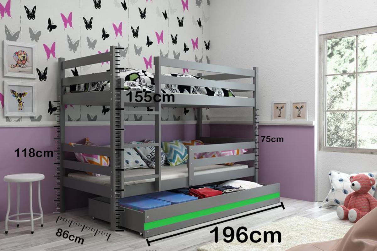 Detská poschodová posteľ ERIKA - sivá biela