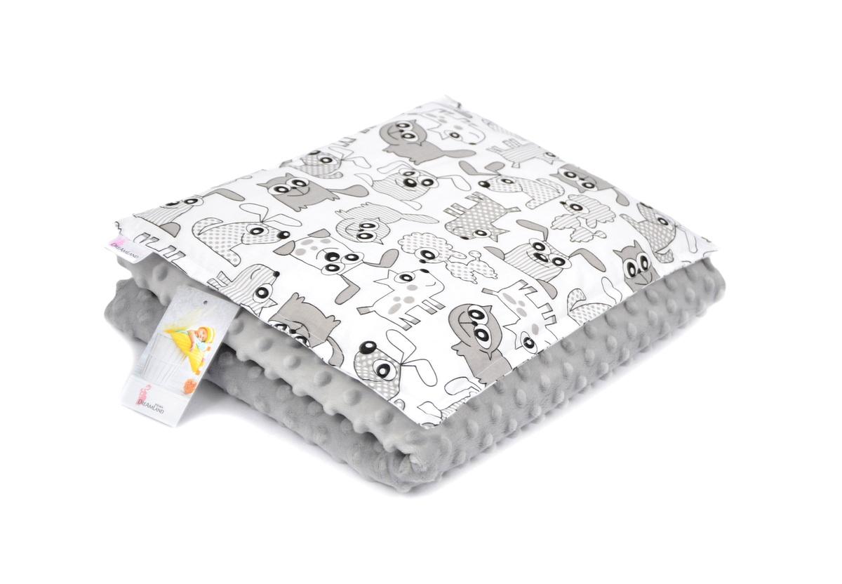 Detská deka a vankúš L Zvieratká - sivá 100x75 cm + 35x25 cm