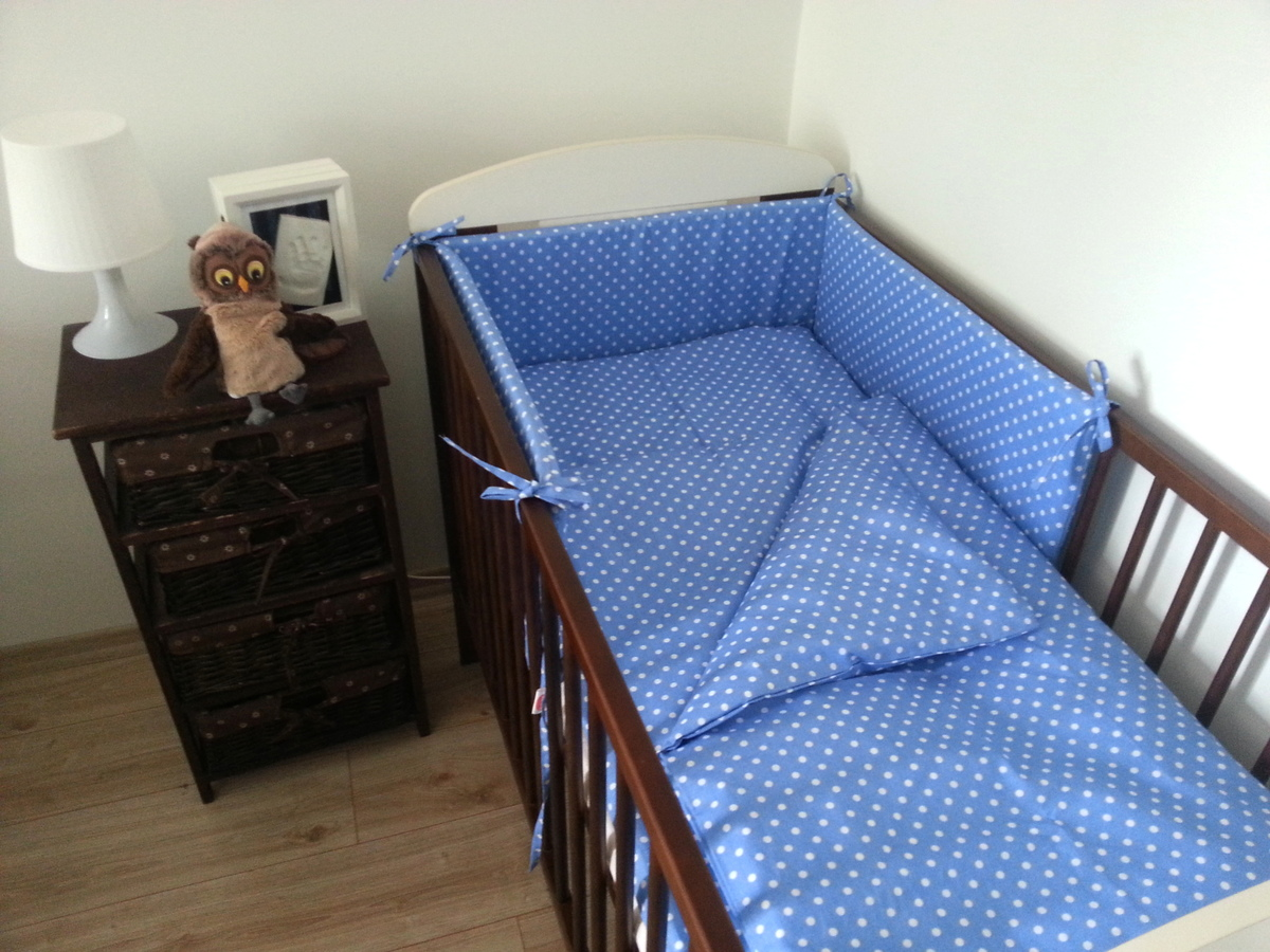 Detské obliečky s bodkami - modré 120x90 cm posteľné prádlo