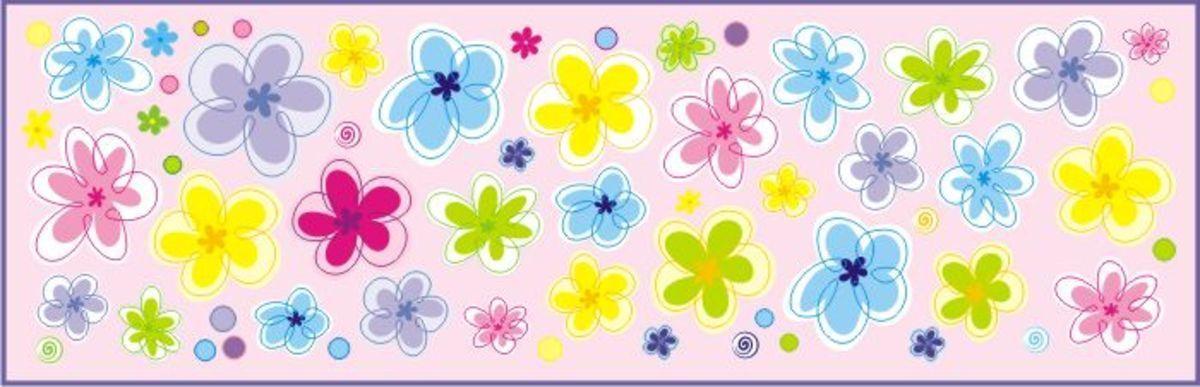 Dekorácia na stenu - kvetinky 1 m²