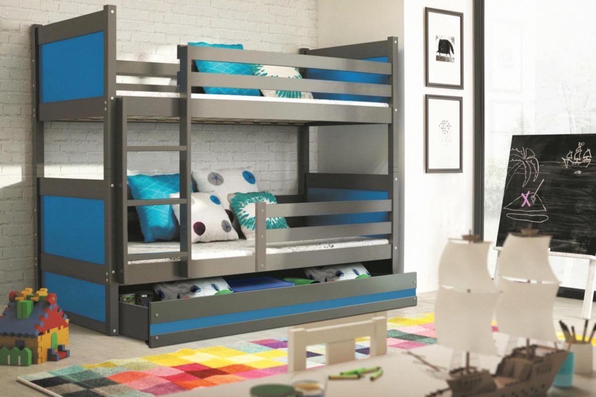 Poschodová posteľ Rocky - grafit - rôzne farby 200x90 cm modrá