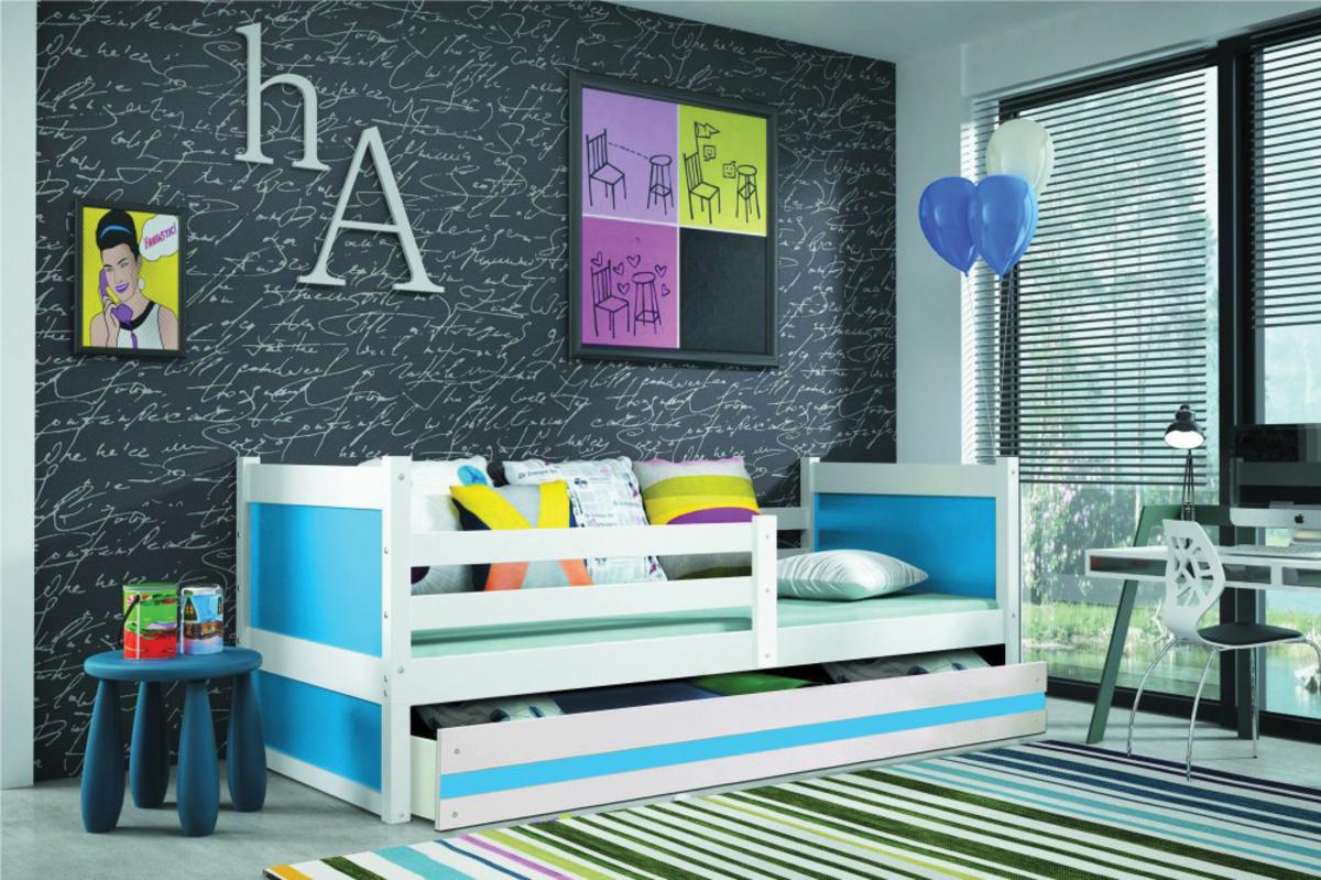 Detská posteľ Rocky 1 - biela 190x80 cm modrá